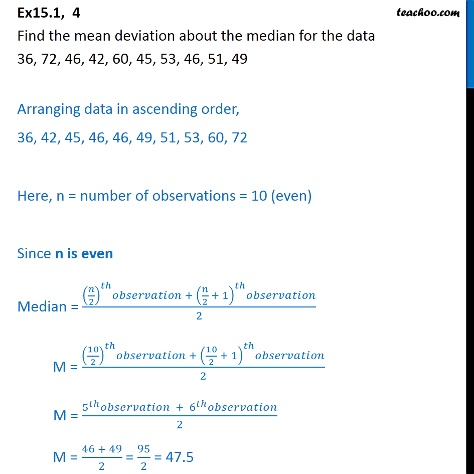 Ex 15.1, 4 - Find mean deviation about median 36, 72, 46 - Mean deviation about median - Ungrouped