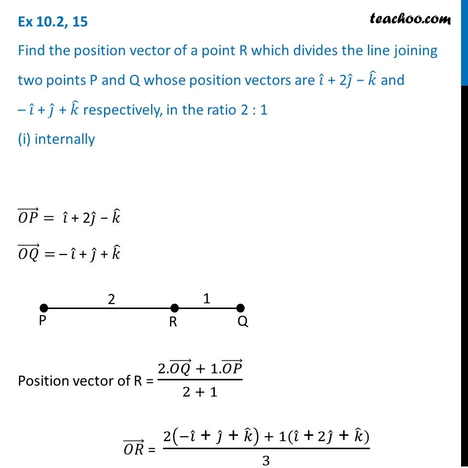 Ex 10.2, 15 - Find position vector of a point R divides line