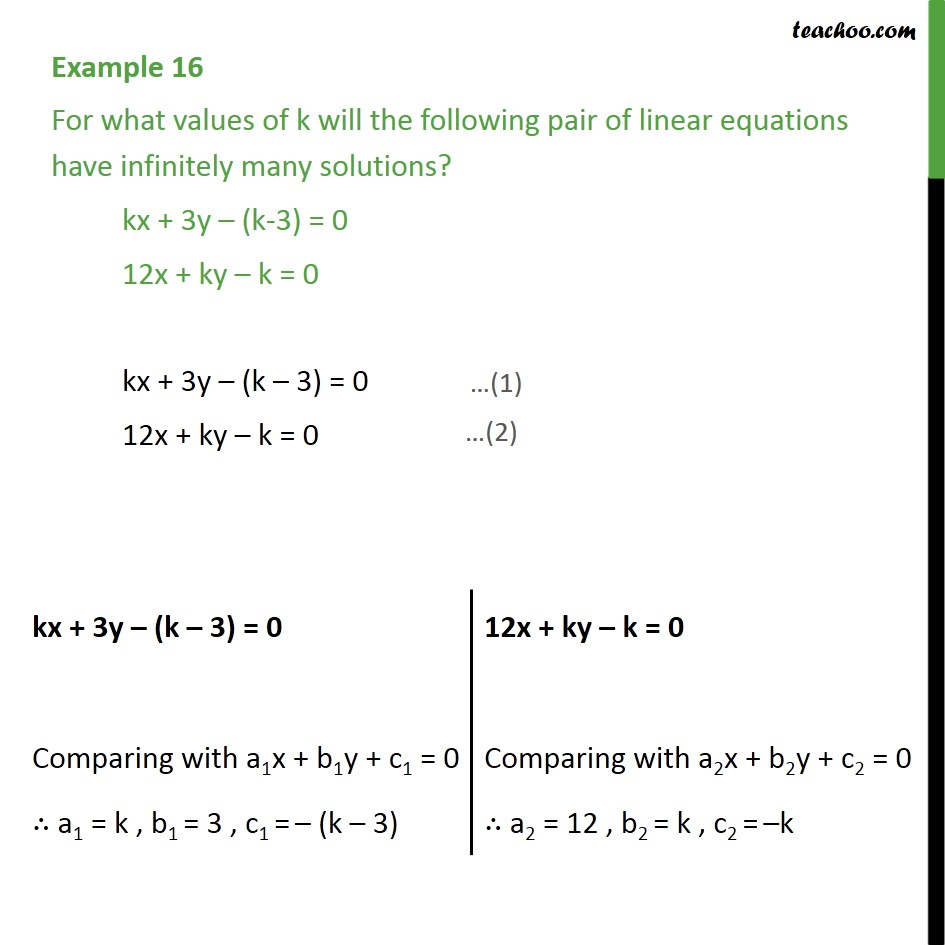 Example 16 - For what values of k will the pair of linear - Cross Multiplication Method
