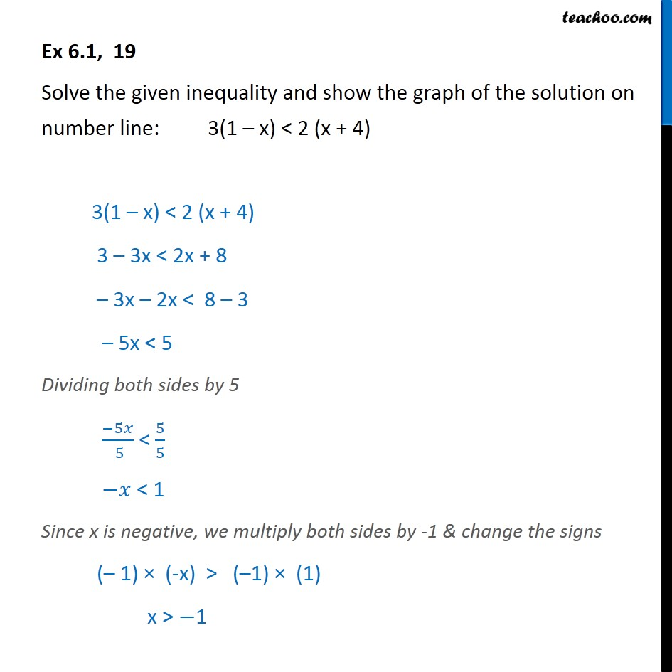 Ex 6.1, 19 - Solve: 3(1 - x) < 2 (x + 4) - Linear Inequalities - Solving on number line (one graph)