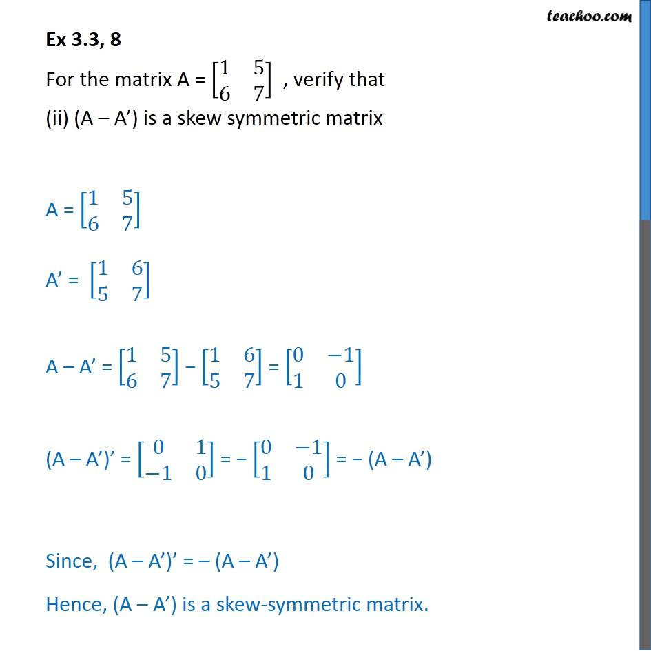 Ex 3.3, 8 - Chapter 3 Class 12 Matrices - Part 2