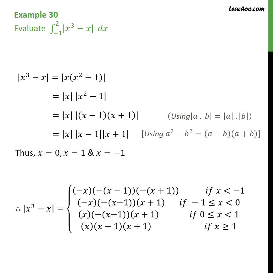 Example 30 - Evaluate integral -1 -> 2 |x3 - x| dx - Definate Integration by properties - P2