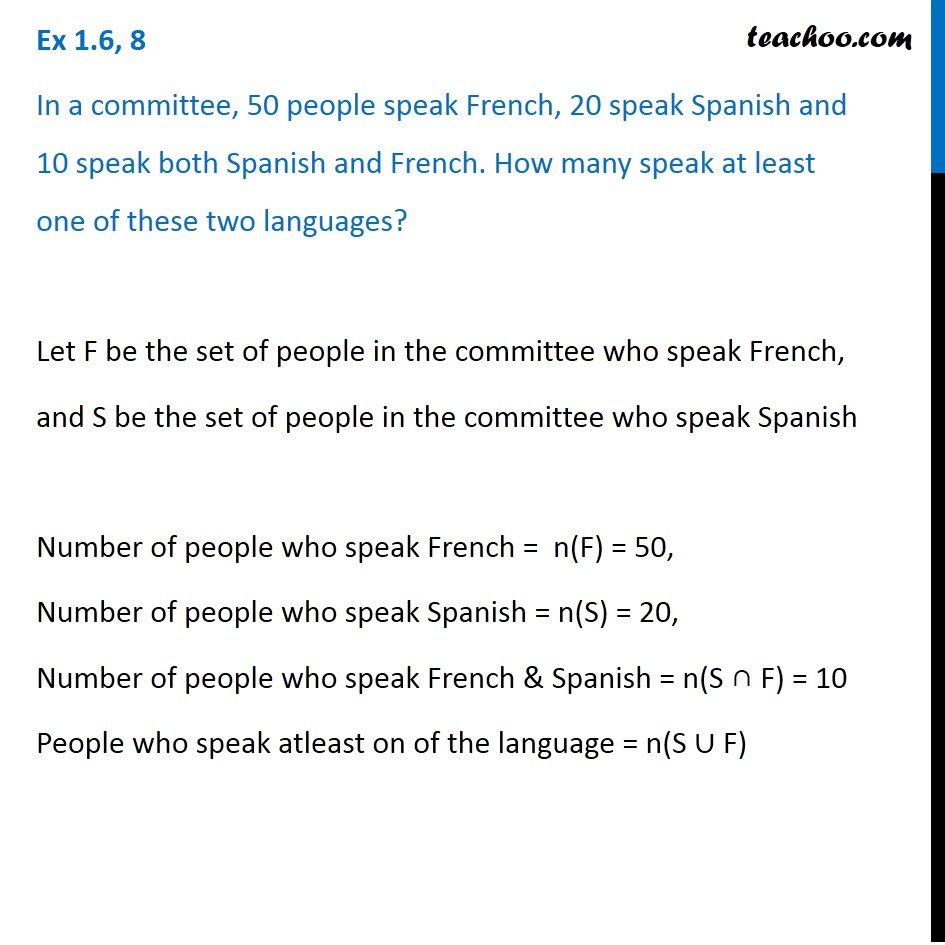Ex 1 6 8 In A Committee 50 Speak French 20 Spanish Ex 1 6