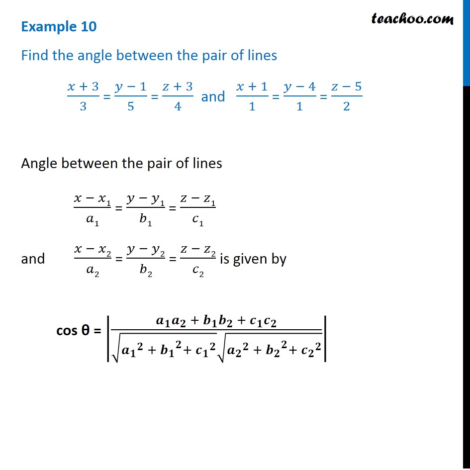 Example 10 - Chapter 11 Class 12 - Find angle between lines