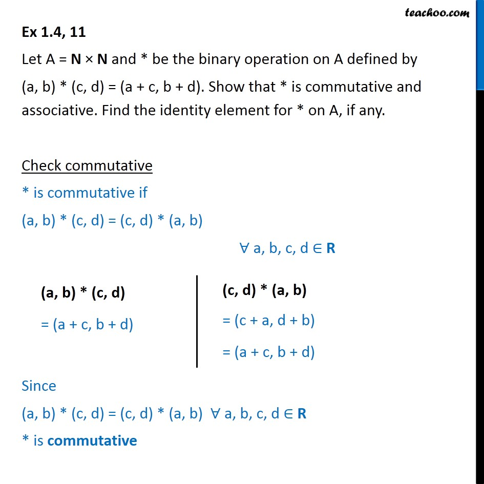 Ex 1.4, 11 - Let (a, b) * (c, d) = (a + c, b + d) - Chapter 1 - Binary operations: Identity element