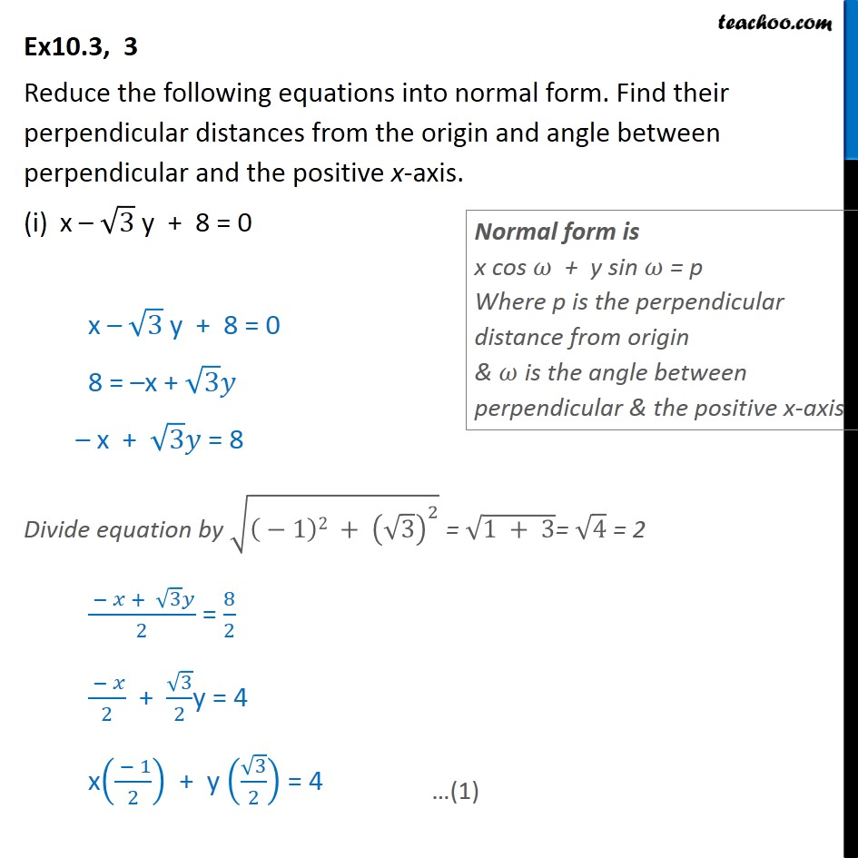 Ex 10.3, 3 - Reduce equations into normal form - Class 11 - Ex 10.3