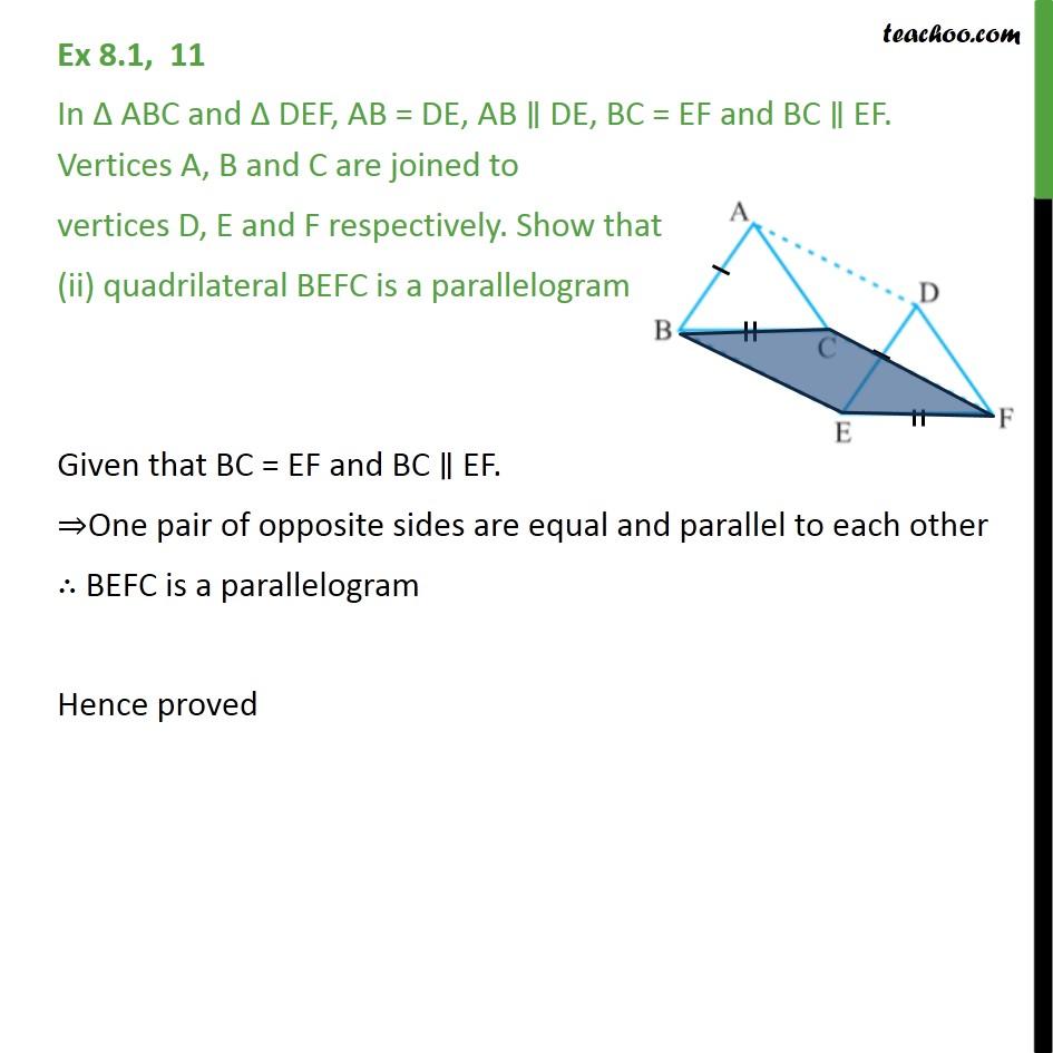 Ex 8.1, 11 - Chapter 8 Class 9 Quadrilaterals - Part 2