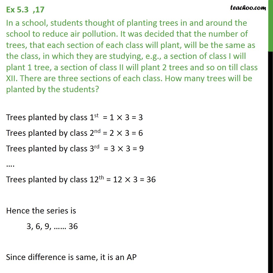 Ex 5.3, 17 - In a school, students thought of planting trees - Ex 5.3