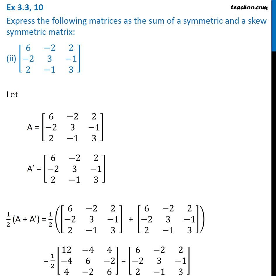 Ex 3.3, 10 - Chapter 3 Class 12 Matrices - Part 3