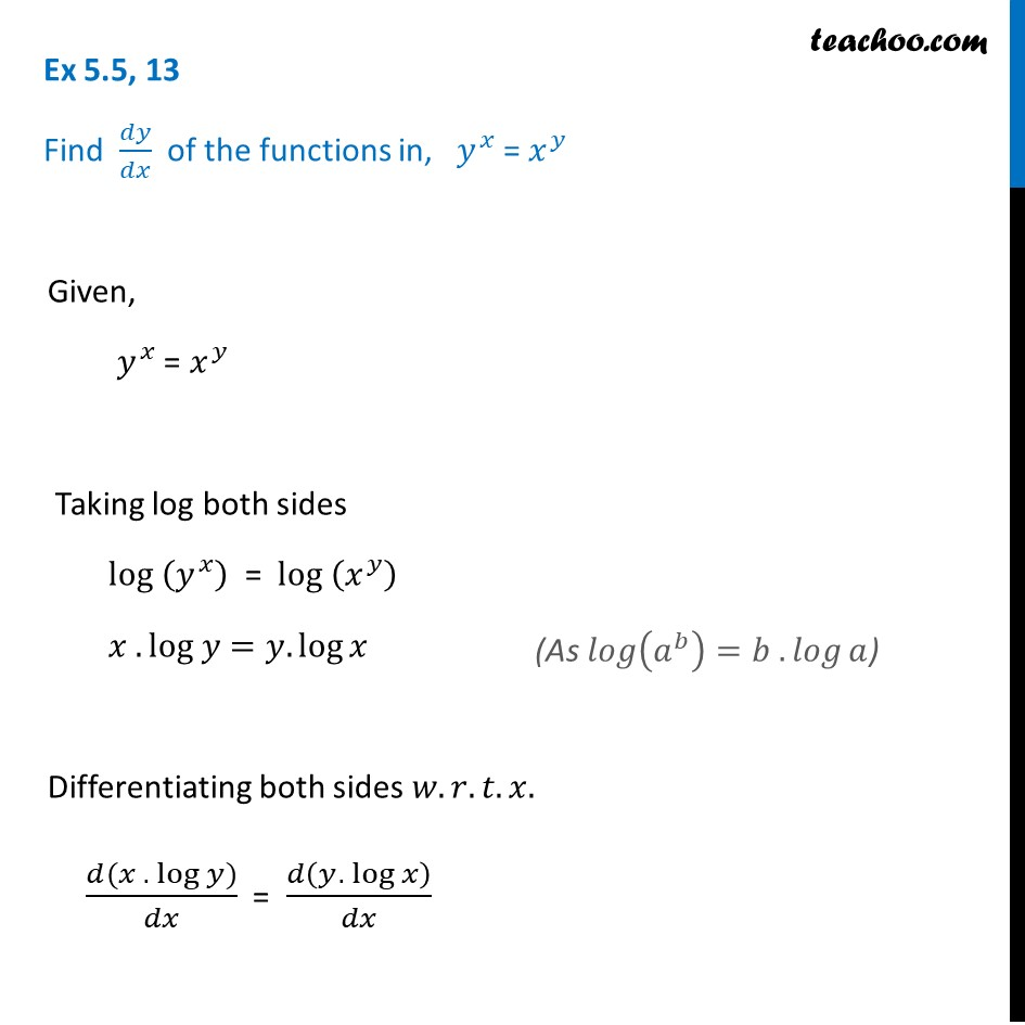 Ex 5.5, 13 - Find dy/dx, yx = xy - Chapter 5 Class 12 - Ex 5.5