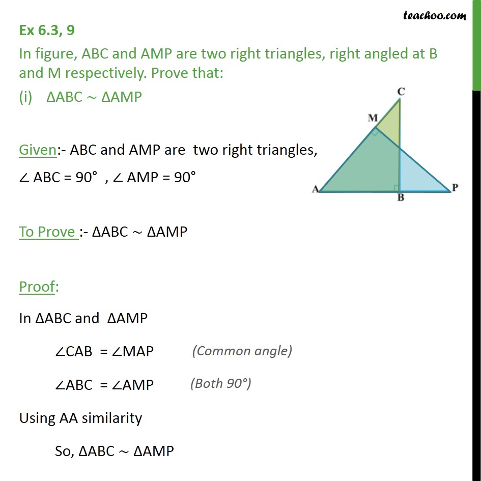 Ex 6.3, 9 - ABC and AMP are two right triangles. Prove - AA Similarity