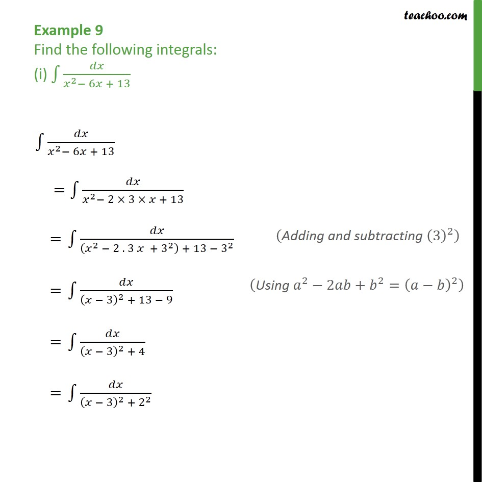 Example 9 (i) - Example 9Find the following integrals dx / x2 - x6 - Chapter 7 Class 12 CBSE NCERT Math - Integration by specific formulaes - Formula 3