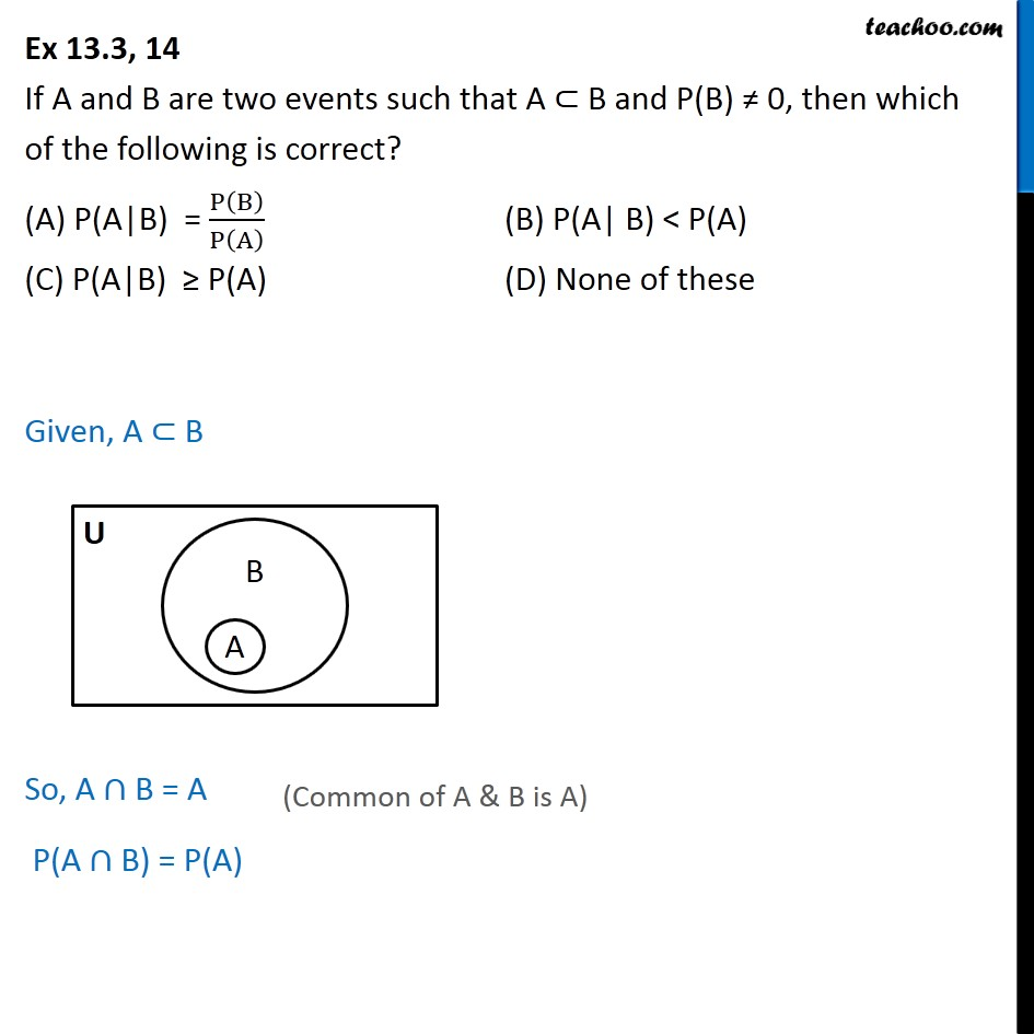 Ex 13.3, 14 - Chapter 13 Class 12 - If A and B are two event - Ex 13.3