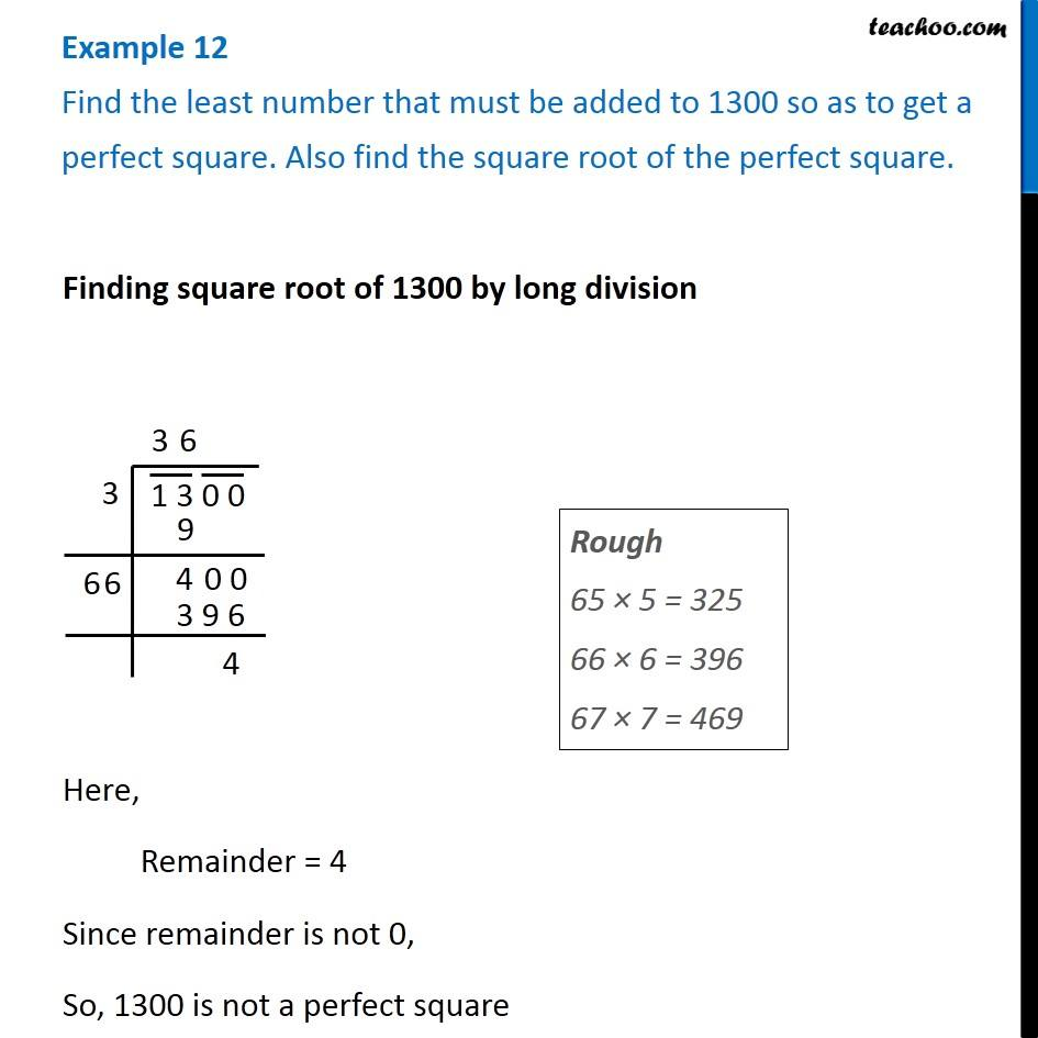 Example 12 - Find the least number that must be added to 1300