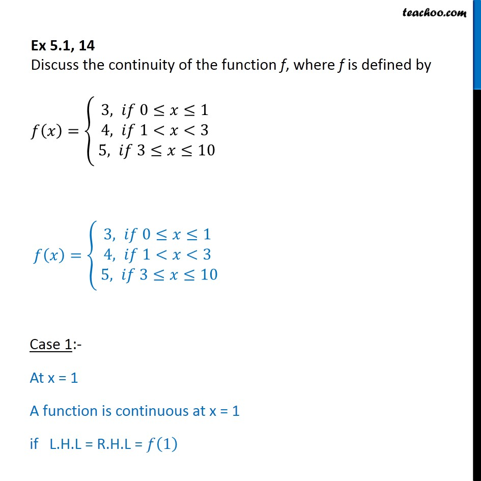 Ex 5.1, 14 - Discuss continuity of f(x) = {3, 4, 5 if 0 < x < 1 - Checking continuity using LHL and RHL