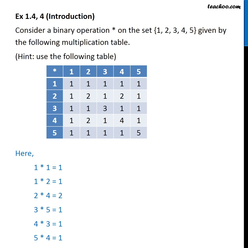 Ex 1.4, 4 - Consider * on {1, 2, 3, 4, 5} given by multiplication - Whether binary commutative/associative or not