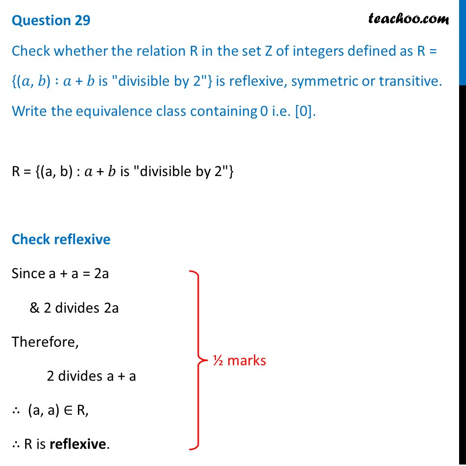 Check whether relation R in set Z of integers defined as R = {(a, b)