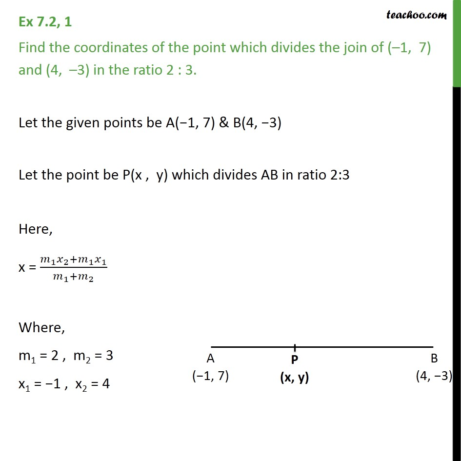 Ex 7.2, 1 - Find coordinates of point which divides join - Section Formula- Finding coordinates