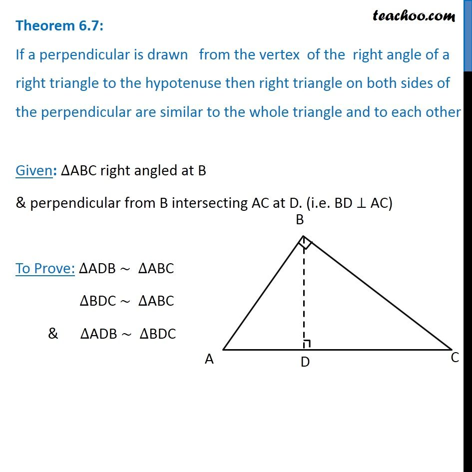 Theorem 6 7 - Class 10 - If a perpendicular is drawn from