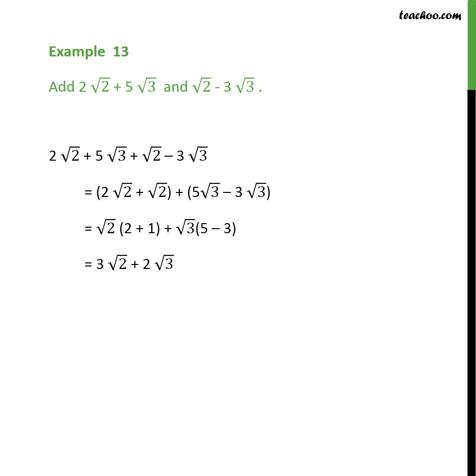 Example 13 - Add 2 root2 + 5 root3 and root2 - 3 root3 - Examples