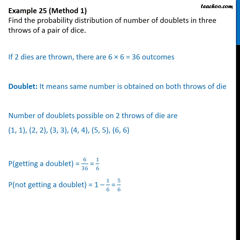 Example 25 - Find probability distribution of number of doublets - Examples