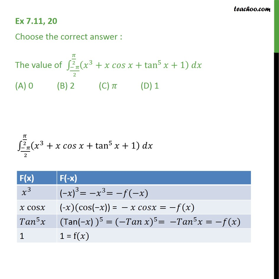 Ex 7.11, 20 - Value of (x3 + x cos x + tan5 x + 1) dx - Definate Integration by properties - P7