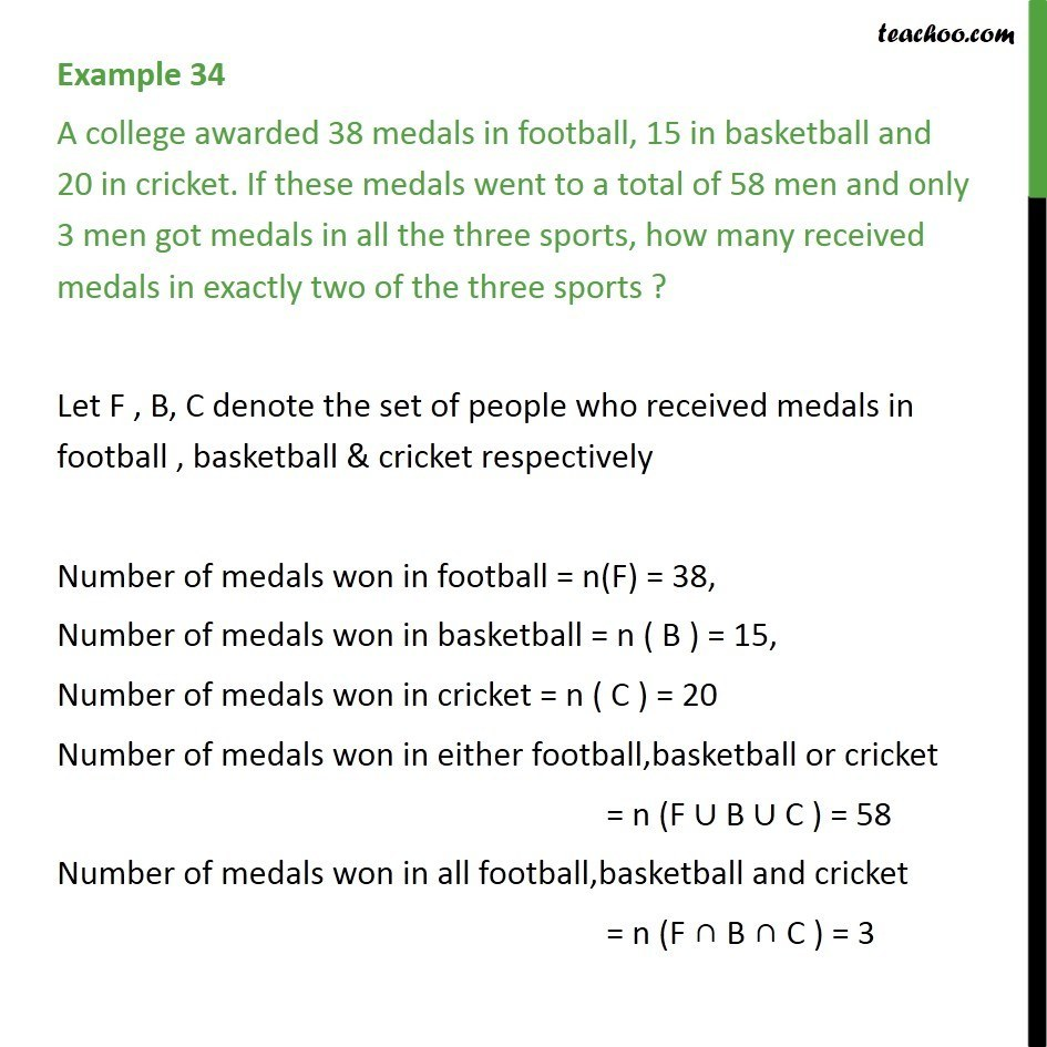 Example 34 - A college awarded 38 medals in football, 15 basketball - Examples