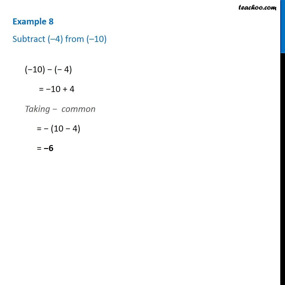 Example 8 - Subtract (-4) from (-10) - Chapter 6 Class 6 - Teachoo
