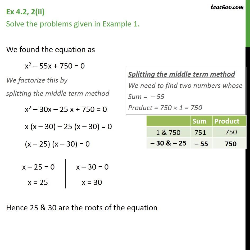 Ex 4.2, 2 - Chapter 4 Class 10 Quadratic Equations - Part 2