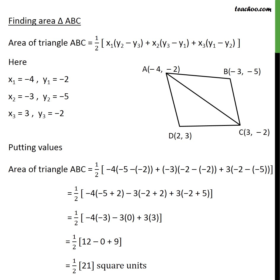Ex 73 4 Find Area Of Quadrilateral Whose Vertices Are