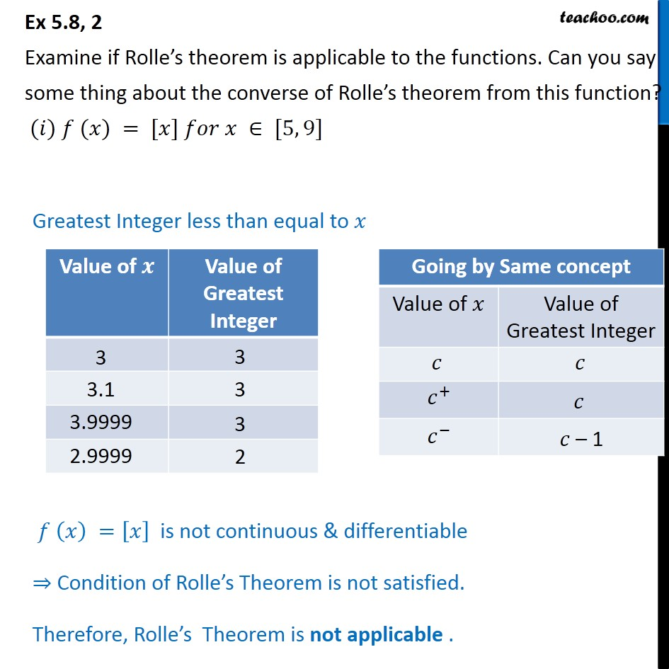 Ex 5.8, 2 - Examine if Rolle's theorem - Chapter 5 Class 12 - Ex 5.8