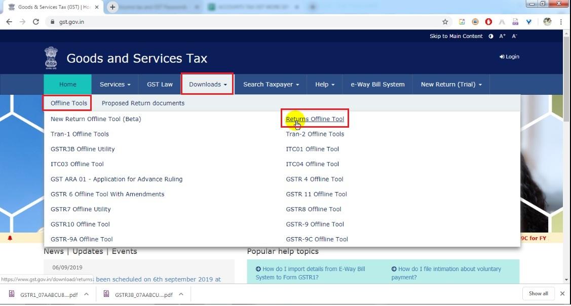 2. Click Downloads, then Offline tools then click returns offline tools.jpg