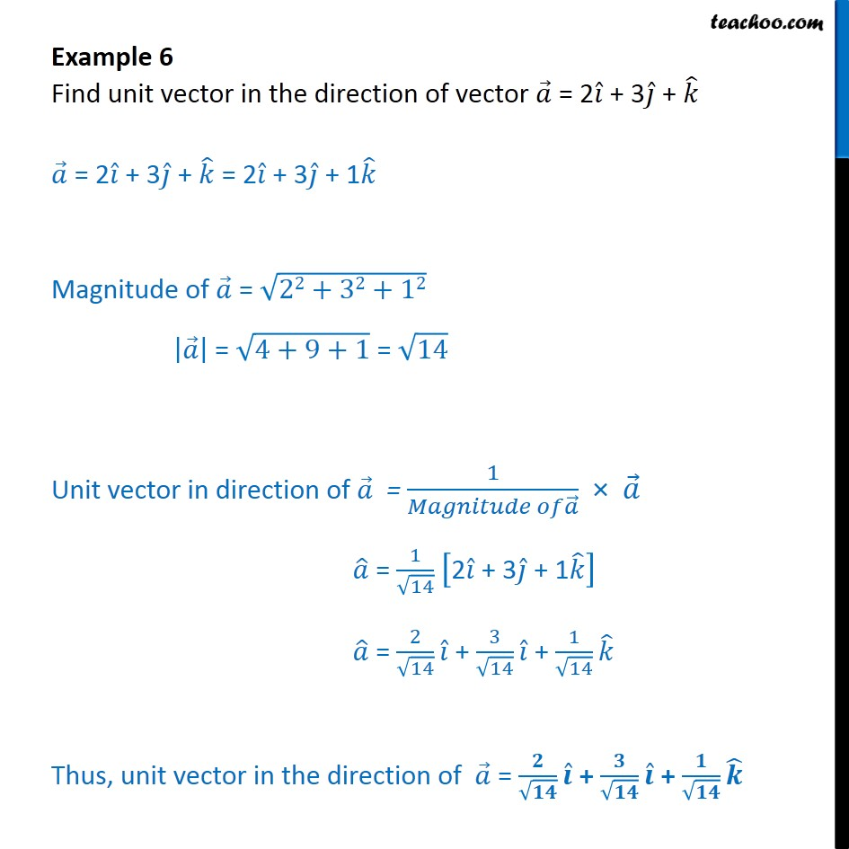 Example 6 - Find unit vector in direction of a = 2i + 3j + k - Examples