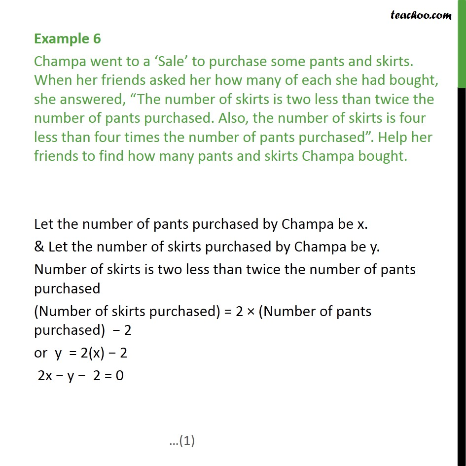 Example 6 - Champa went to a Sale to purchase some pants - Examples