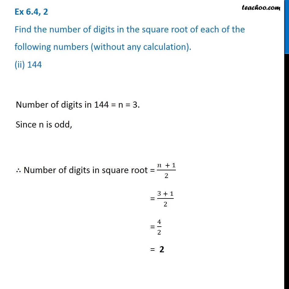 Ex 6 4 2 Find Number Of Digits In The Square Root Of I 64