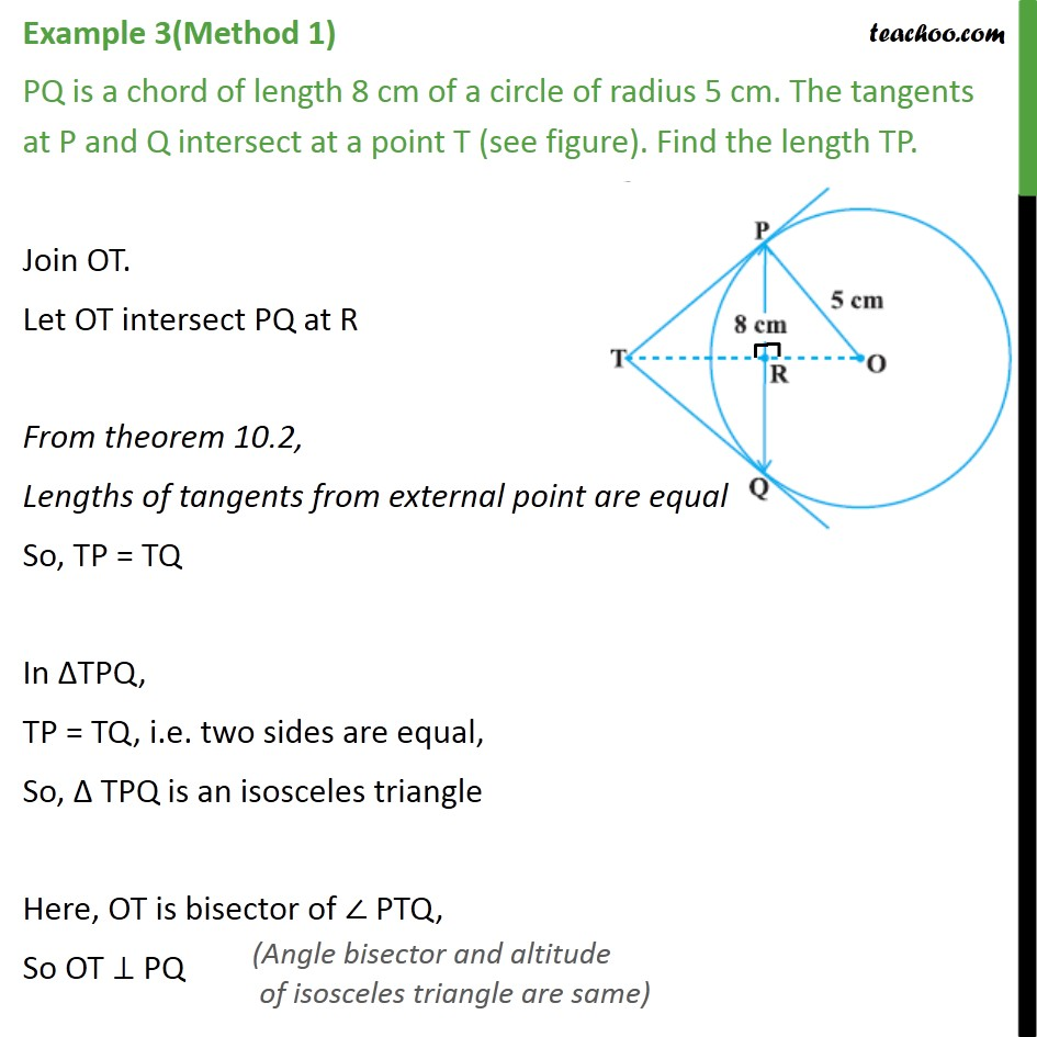 Example 3 Pq Is A Chord Of Length 8 Cm Of A Circle Examples