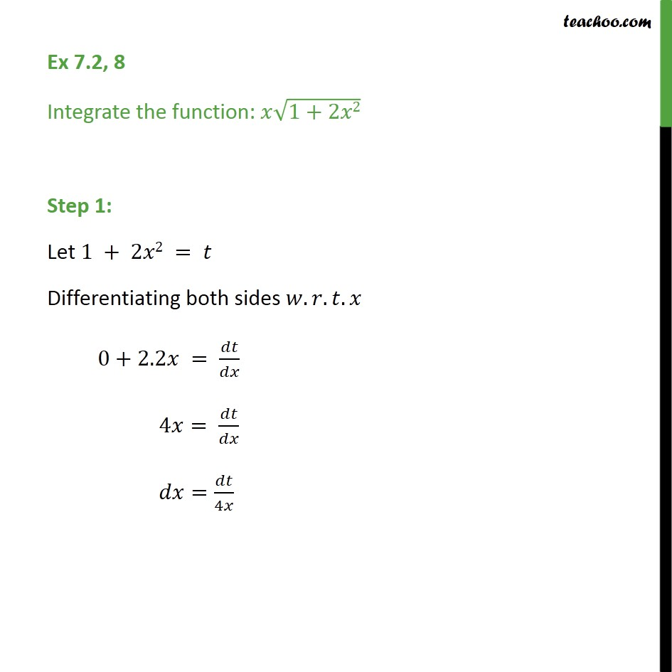 Ex 7.2, 8 - Integrate x root(1 + 2x2) - Chapter 7 NCERT - Integration by substitution - x^n