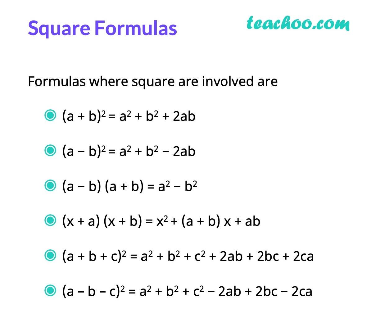 Formulas Involving Square - Algebra Formulas - Teachoo.jpg