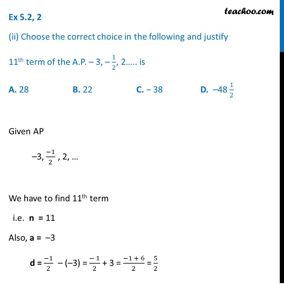 Ex 5.2, 2 - Chapter 5 Class 10 Arithmetic Progressions - Part 3