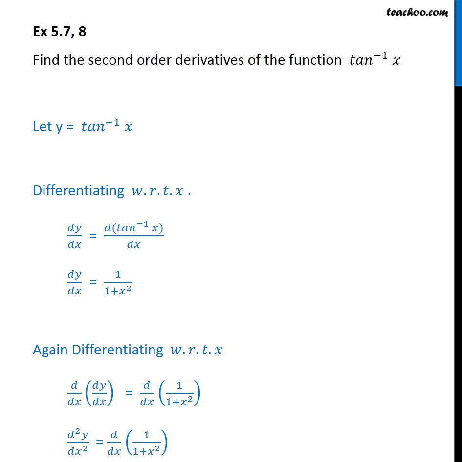 Find Second Order Derivatives Of Tan-1 X
