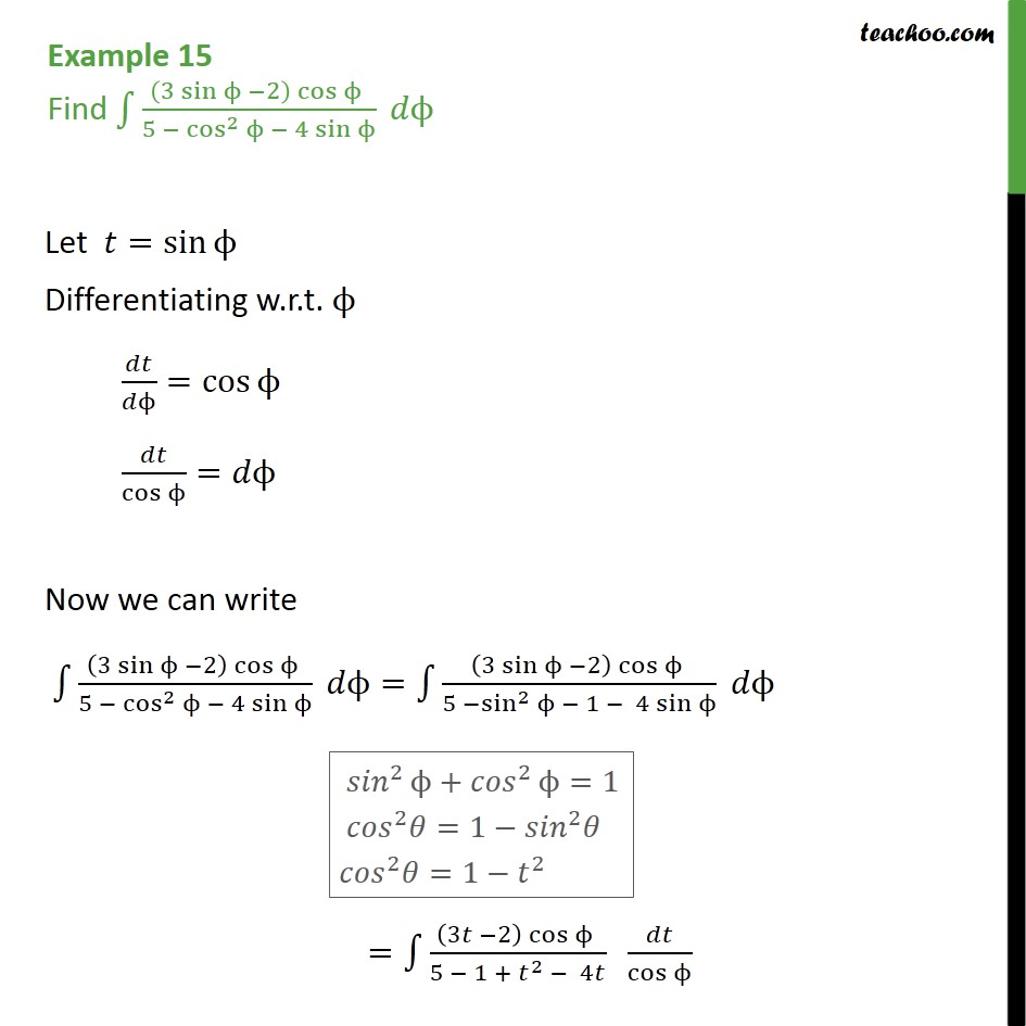 Example 15 - Find (3 sin - 2) cos / 5 - cos2 - 4 sin - Integration by partial fraction - Type 2