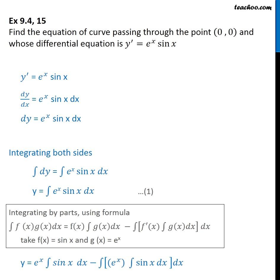 Ex 9.4, 15 - Find equation of curve passing through (0, 0) - Ex 9.4