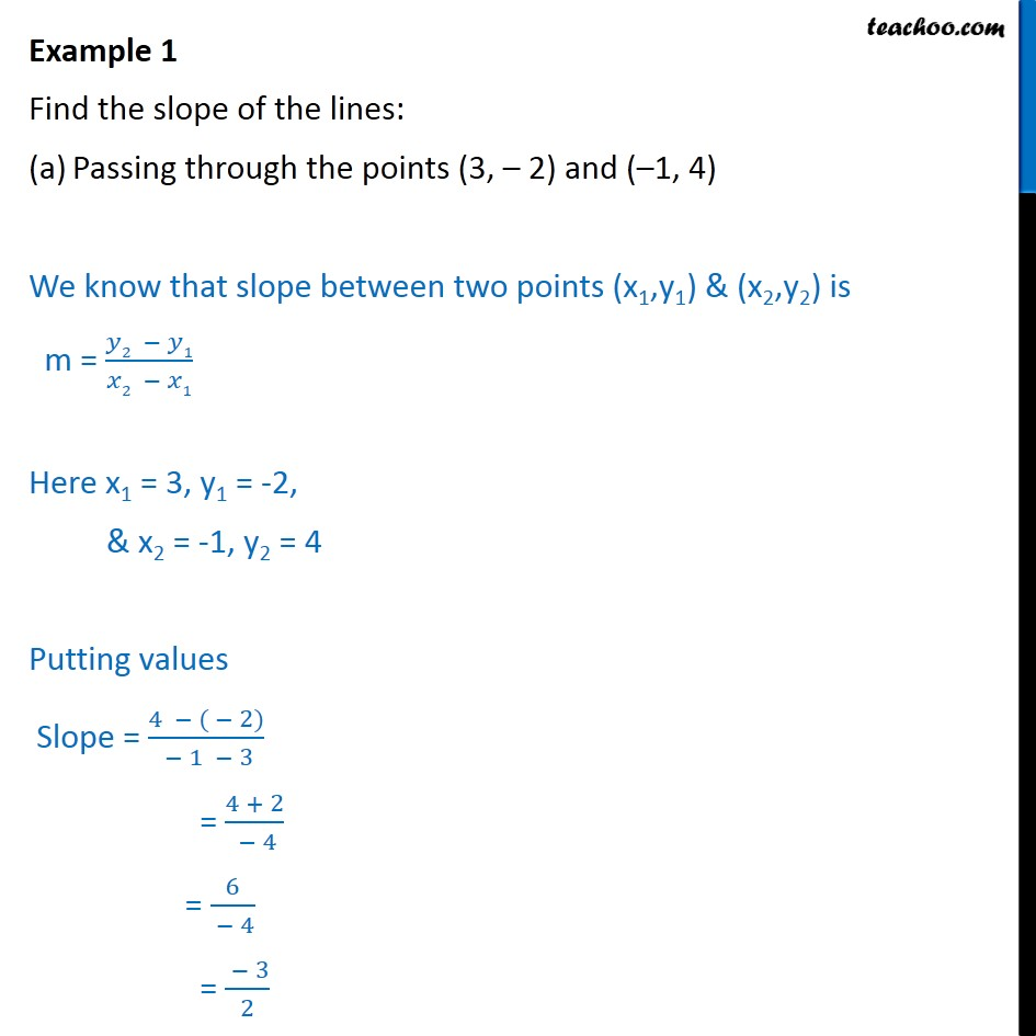 Example 1 - Find slope of lines - Chapter 10 Class 11 - Slope - Finding slope