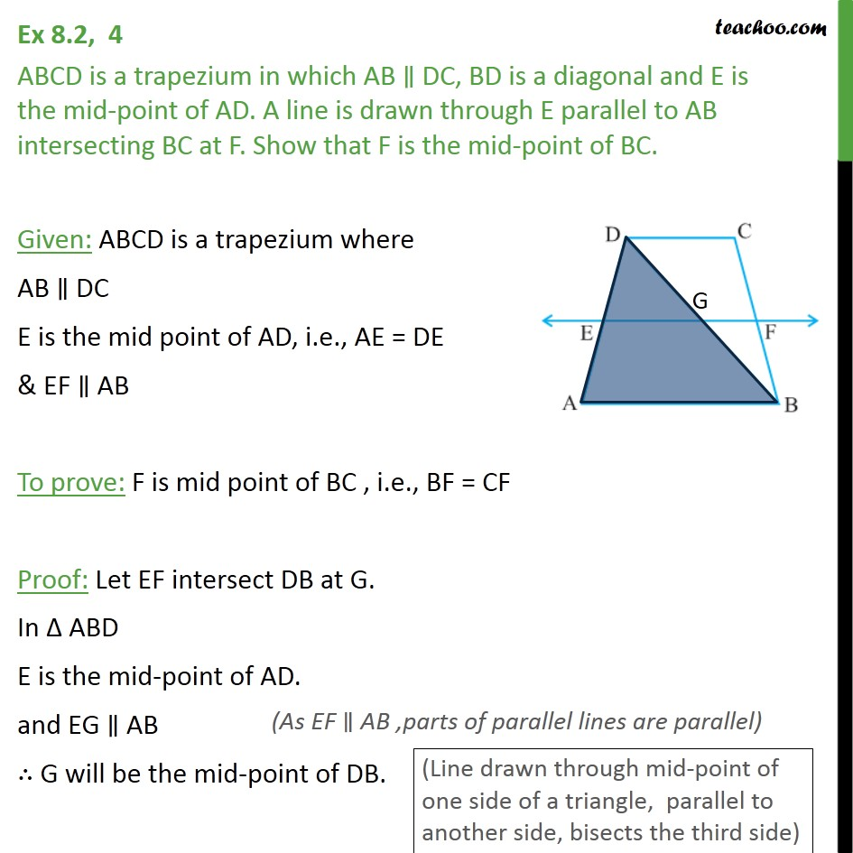 Ex 8.2, 4 - ABCD is a trapezium in which AB || DC, BD is - Ex 8.2