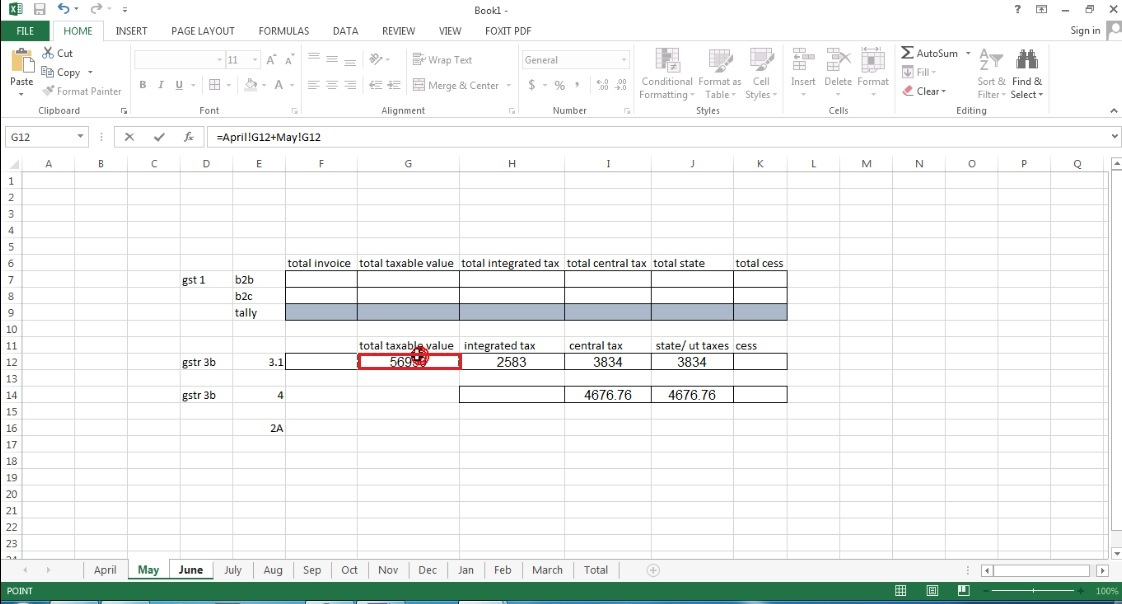 14. Go to May sheet and select 3.1 taxable value, then press plus button same with june then press enter.jpg