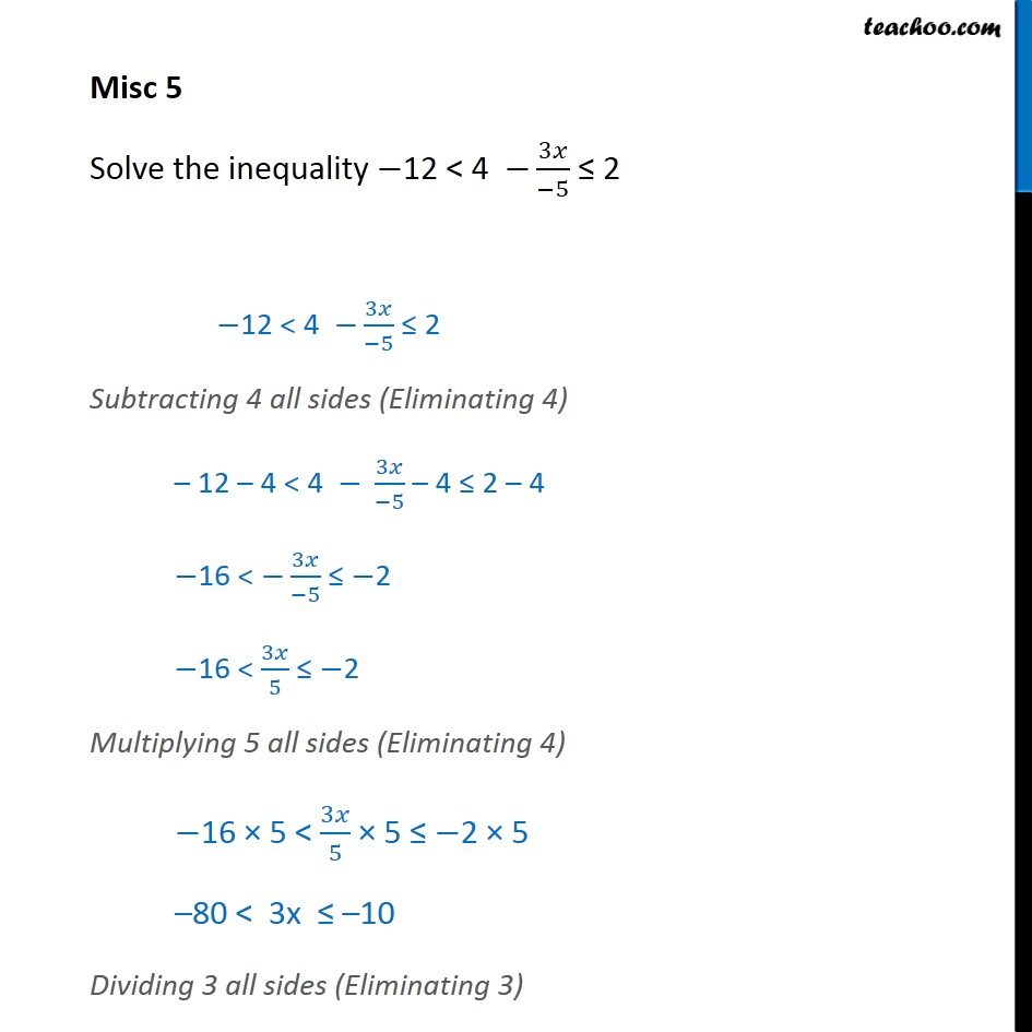 Misc 5 - Solve -12 < 4- 3x / -5 <= 2 - Chapter 6 NCERT  - Solving inequality  (both  sides)
