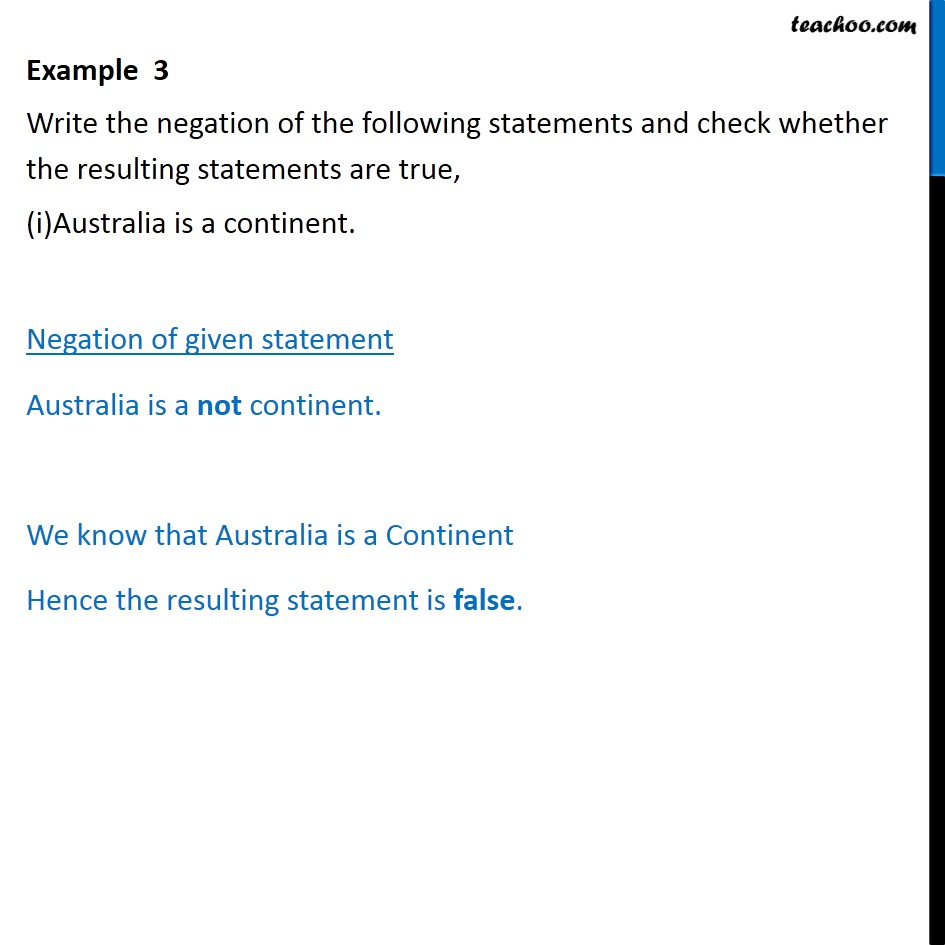 Example 3 - Write negation and check whether true - Chapter 14 - Examples