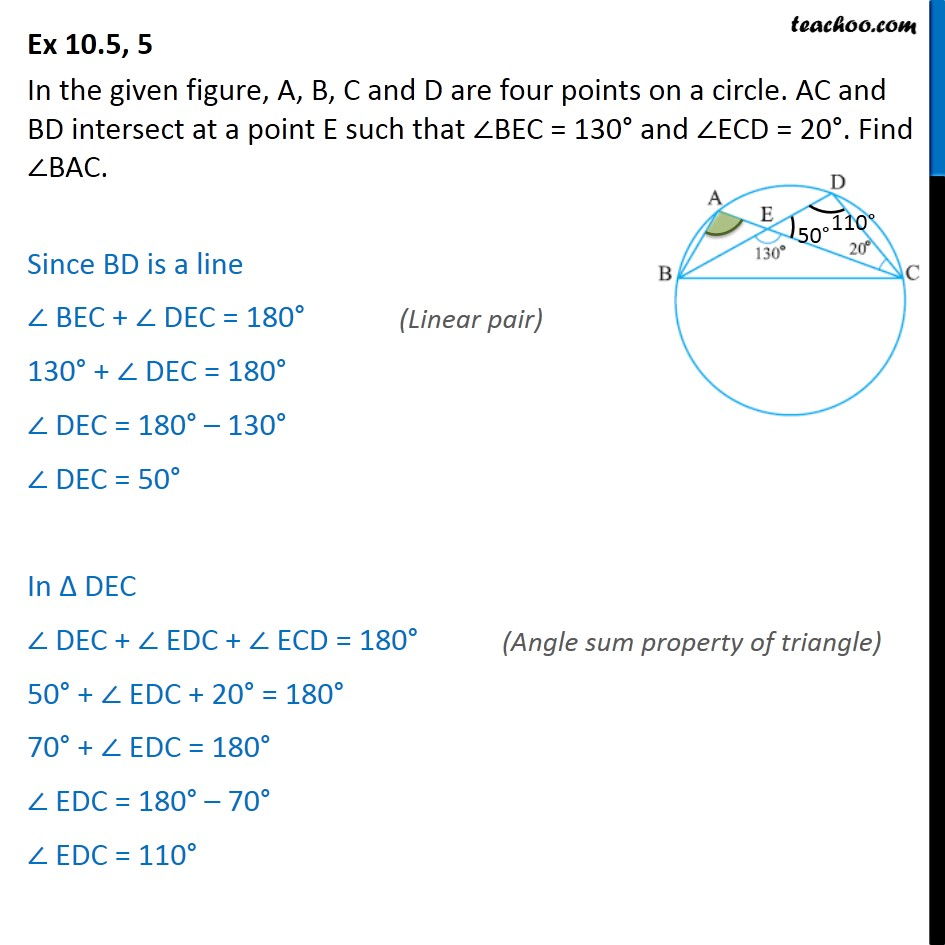 Ex 10.5, 5 - In figure, A, B, C and D are four points - Ex 10.5