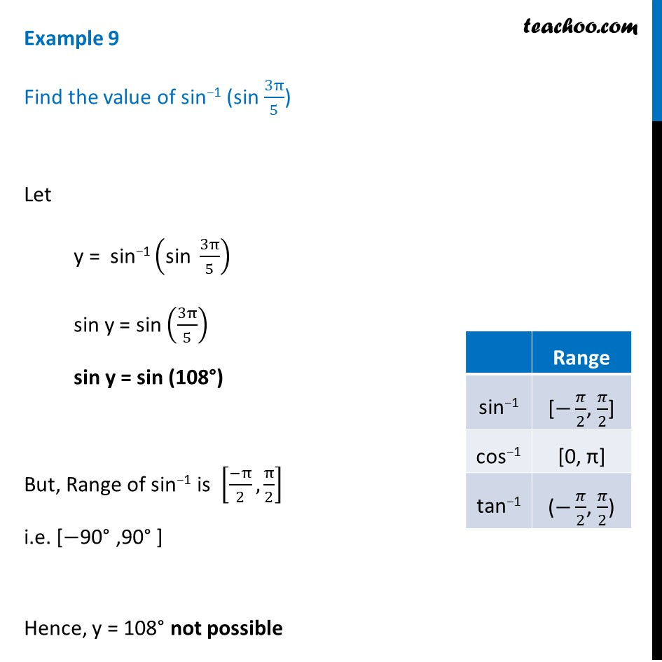 Example 9 - Chapter 2 Inverse trigonometry - Find sin-1 (sin