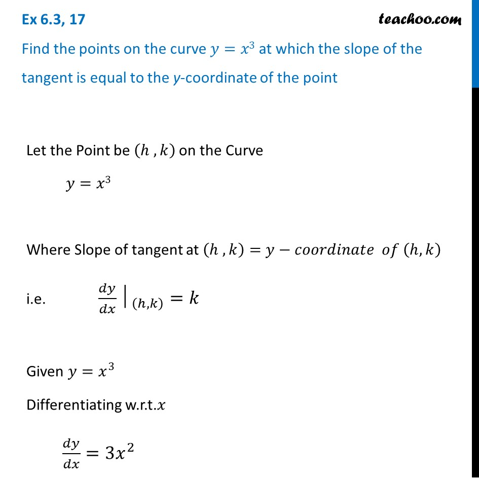Ex 6.3, 17 - Find points on y = x3 at which slope of tangent